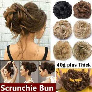 NEW Scrunchies REAL THICK 100% Natural Real Hair Extensions Wrap Messy Bun Updo $7.31