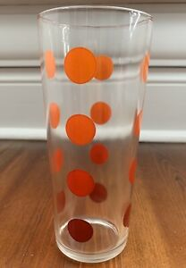 """Vintage Orange Red Polka Dot 6.5"""" Glass Tumbler Drinking Glass by Blue Plate $15.00"""