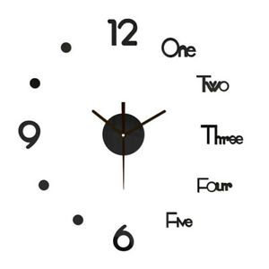 Clock Watch Wall Clocks 3D Acrylic Stickers Home Decoration Living Room $13.09