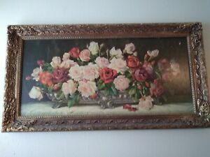 Antique painting Print Still Life with flowers Gold Gilded Frame 19quot; x 35quot; $199.99