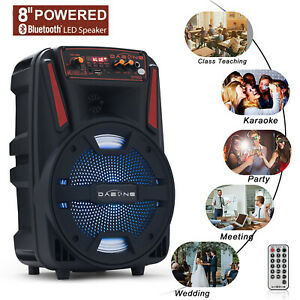 8quot; Portable Bluetooth Speaker Sound System LED USB Party Stereo Wireless 1000W $38.99
