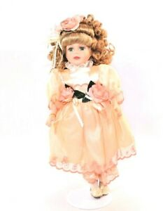 16quot; Porcelain Doll Vintage BK Victorian Rose Collection 1999 with tag and Stand $18.00