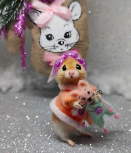 Needle Felted Mouse Handmade Animal Artist Christmas Teddy Mice Gift Ooak $110.00
