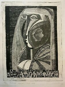 UNKNOWN ARTIST mid century modern abstract etching signed 1967 $195.00