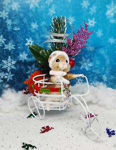 Needle Felted Mouse #x27;JESSICA#x27; Animal Artist Christmas Teddy Mice Gift Ooak $60.00