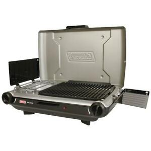 Portable Propane Camping Grill Stove BBQ Tabletop Picnic Cooking Burner 2in1