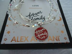 Alex And Ani FOREVER FAMILY SET OF 2 Shiny Silver Bangles New W Tag Card Box $45.99