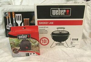 Weber Smoky Joe 14 in Charcoal Grill Portable Cover amp; 18 pc. BBQ Tool Gift Set