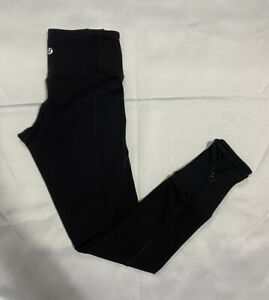 Lululemon Wunder Under Black Leggings Sz 2 With Logo Zipper $46.00