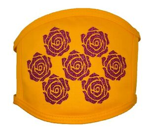 Child Little Girls Ages 7 and under Yellow with Hot Pink Glitter Roses Mask $6.99