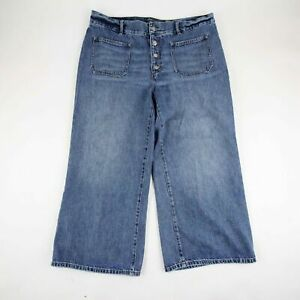 Lauren Jeans Co Women#x27;s Wide Leg Denim Light Wash High Waist Button Fly Size 16