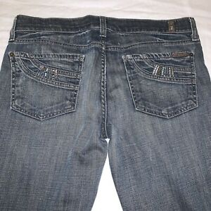 7 For All Mankind Women#x27;s Size 28 Rhinestone Bootcut Jeans Denim Designer Jeans