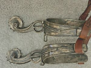 VINTAGE HANDMADE COIN SILVER CHISELED ROLLER SPURS DOUBLE MOUNTED