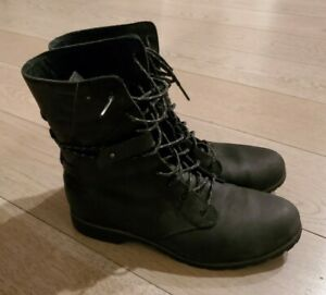Teva Womens Black Leather Waterproof Lace Up W Delavina Moto Boots; Sz 7.5 EUC $64.99