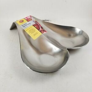 TableCraft Brushed Stainless Steel Double Spoon Rest Commercial Quality.. New $10.80