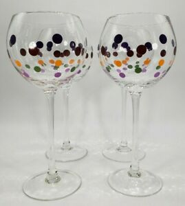 """PAMPERED CHEF Polka Dots Set of 4 Wine Balloon Glass Goblets 8.5"""" Tall $65.00"""