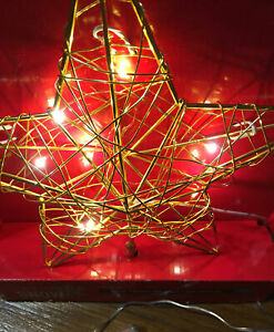 NWT 3D Gold STAR hand Twisted CHRISTMAS Tree Topper Needs NO plugs LED Flashes $15.00