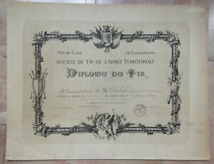 FRENCH ARMY ANTIQUE SHOOTING DIPLOMA 1880 19TH CENTURY DIPLOME DE TIR ARMEE $70.00