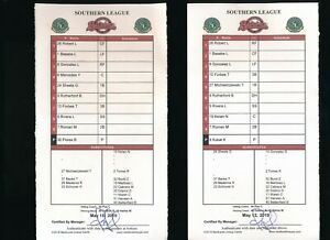 2018 minor league Game Used line up card signed O Vizquel Birmingham Barons May