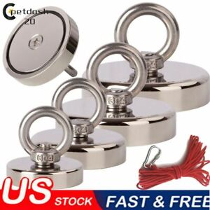 Fishing Magnet Kit Up To 1000 LB Pull Force Super Strong Neodymium10M Rope New $28.49