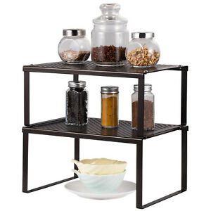 Kitchen Bathroom and Counter Shelf Organizer Stackable amp; Expandable Storage Rack $14.99