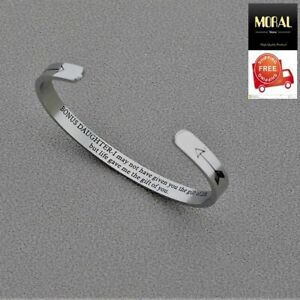 Women Jewelry Engraved Bracelets Cuff Bangle Open Cuff for Daughter Girls Gift