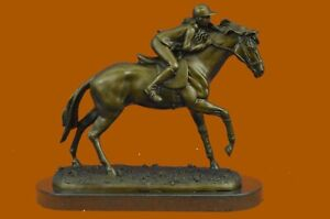 WONDERFUL PURE BRONZE HORSE AND JOCKEY RACEHORSE STATUE SCULPTURE LARGE NUMBER 4 $349.00