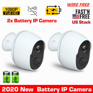 2x 1080P HD Wireless Security Camera Rechargeable Battery Powered WiFi Outdoor