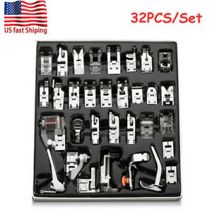 32Pcs Set Domestic Sewing Machine Presser Foot Snap On For Brother Singer Kit US $15.99