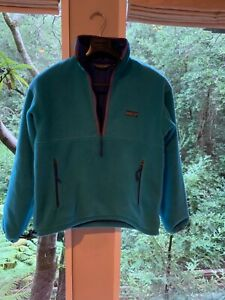 Vintage Small PATAGONIA Shelled Fleece Pullover Teal with Cobalt MADE IN USA