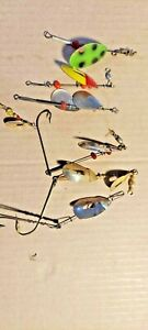 OLD LURES VINTAGE SPINNERS OLD JUNEBUG AND MARATHON SPINNERS FOR WALLEYE PIKE.