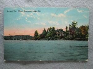 Antique On The East Shore Conneaut Lake Pennsylvania Photo Postcard 1916 $4.10