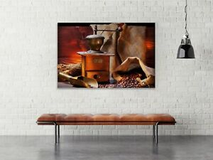 Coffee Beans and Grinder Canvas Wall Design Painting Print Art Décor