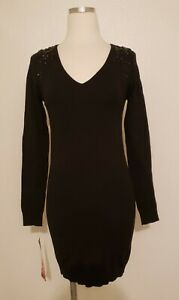 NWT Lapis Black Beaded Sequined Knit Stretch Sweater Dress Size Large $19.99