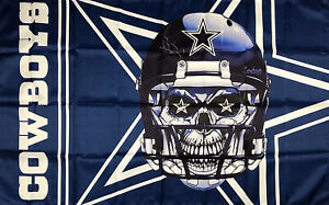 Dallas Cowboys Skull NFL Football Flag 3x5 ft Sports Banner Man Cave Garage New