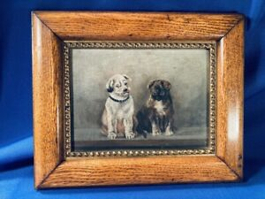 Antique oil painting of puppies ADORABLE Possibly terrier amp; pug c. 1900 $175.00