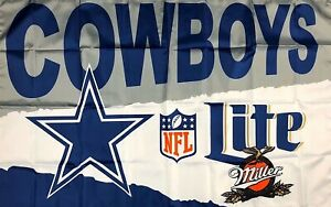 Dallas Cowboys NFL Miller Lite Football Flag 3x5 ft Sports Banner Man Cave New