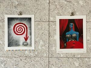 DELUXE ART OF TIM BURTON 2 SIGNED LITHOGRAPHS UNCUT RAREST OF RARE $500.00