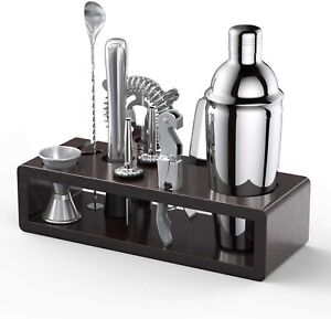 Bartender Kit With Stand Stainless Steel Cocktail Shaker With 10 Pieces Bar Tool