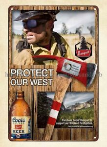 Coors Banquet beer Protect Our West Wildland Firefighter Foundation metal tin
