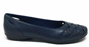 Clarks Collection Womens Gracelin Maze Ballet Flat Shoes Navy Leather Size 8 W $39.99