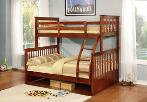 Kings Brand Furniture Wood Twin Over Full Size Convertible Bunk Bed Walnut $375.99