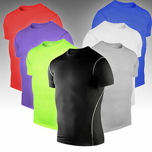 Under Mens Short Sleeve Compression T Shirt Workout Sports Breathable Tee Tops $12.82