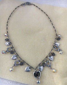 Vintage Silver 19 Charm And Crystal Heart Necklace 16 Inch