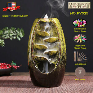Ceramic Backflow Incense Cone Burner Holder Glaze Waterfall081 amp; Cones Gift