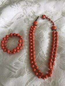 Vintage Salmon Color Glass Bead Necklace And Bracelet Set