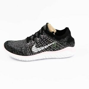 Nike Womens Free RN Flyknit 942839 007 Black White Running Shoes Lace Up Sz 7.5 $92.94