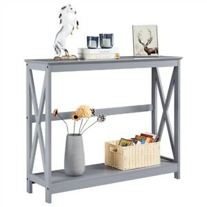 Classic X Design Console Table Sofa Side Table For Entryway Living Room Gray $67.99