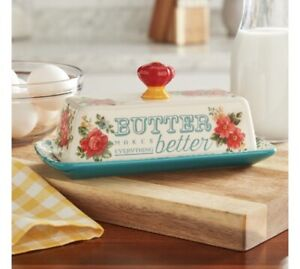 THE PIONEER WOMAN: Teal Vintage Floral Ceramic Butter Dish quot;NEW $22.99