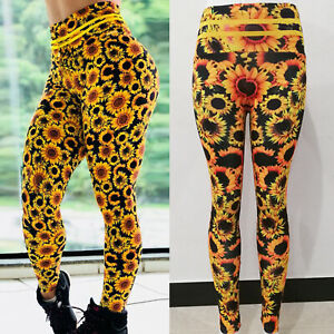 Womens Sunflower Printed Yoga Pants Fitness Leggings Gym Workout Sports Trousers $14.19
